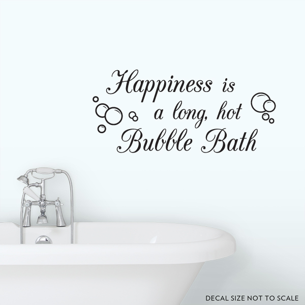 "Bath Quotes Glamorous Clearance Black 36"" Happiness Is A Long Hot Bubble Bath Wall"